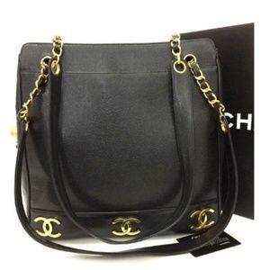 100% Auth Chanel Triple Coco Caviar Skin Tote Bag